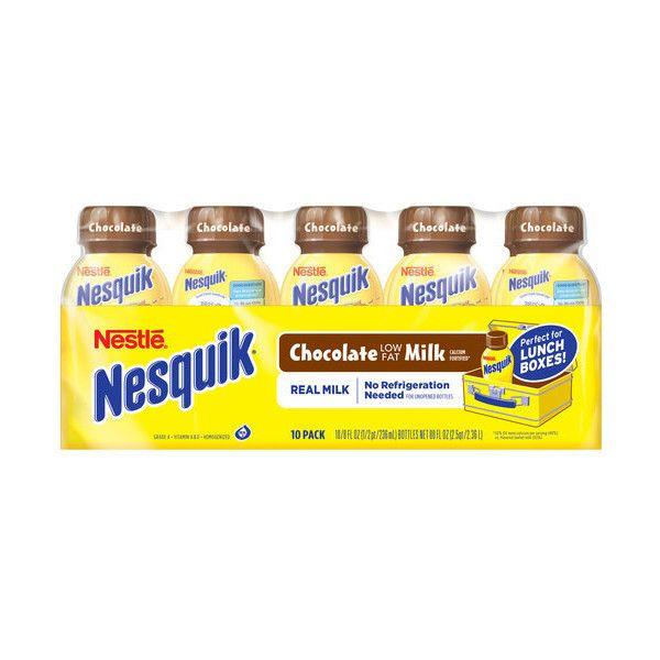 Nestle Nesquik Chocolate Lowfat Milk, 8 fl oz, 10 count Walmart.com ($7) ❤ liked on Polyvore featuring food