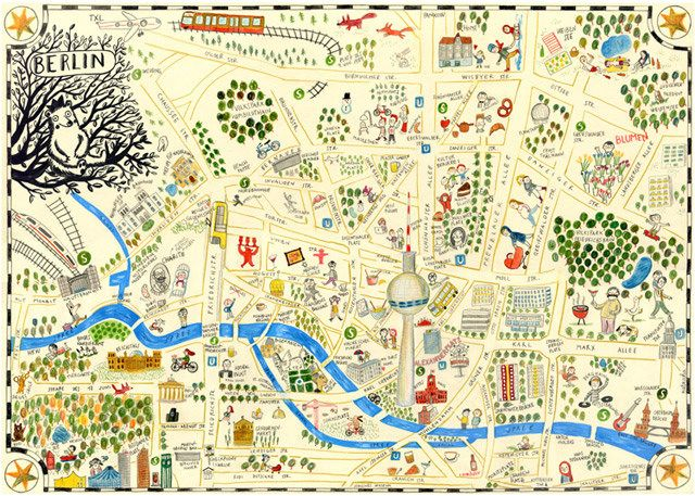 Berlin In A Map Flickr Photo Sharing Illustrated Map Map Map Art