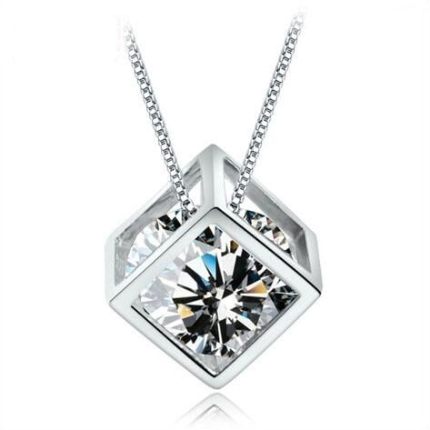 Necklaces Pendants 925 Sterling Silver Woman Magic Love Square Shiny Zirconia…