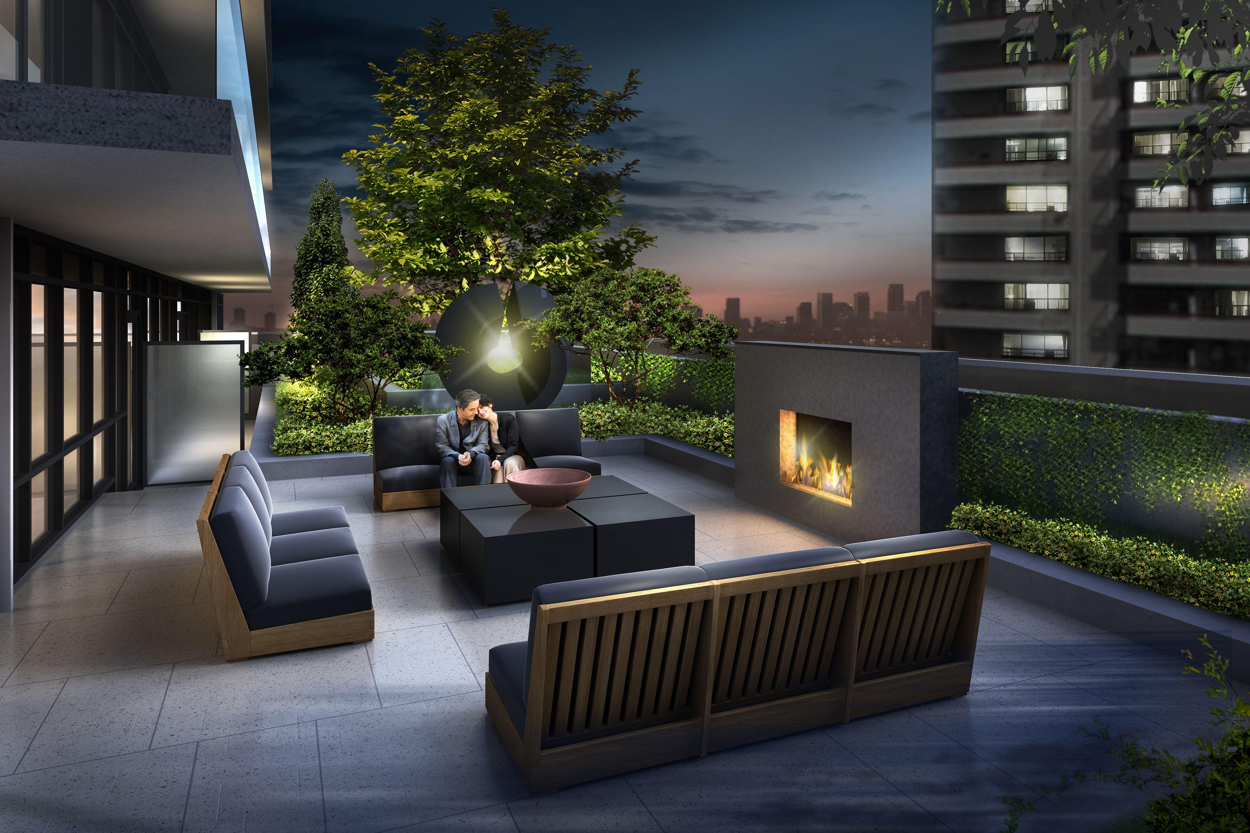 Rooftop Terrace At 101erskine Complete With Fireplace Condolife Torontocondo Yonge Eglinton Alfresco Dining Area Exterior Design Condo