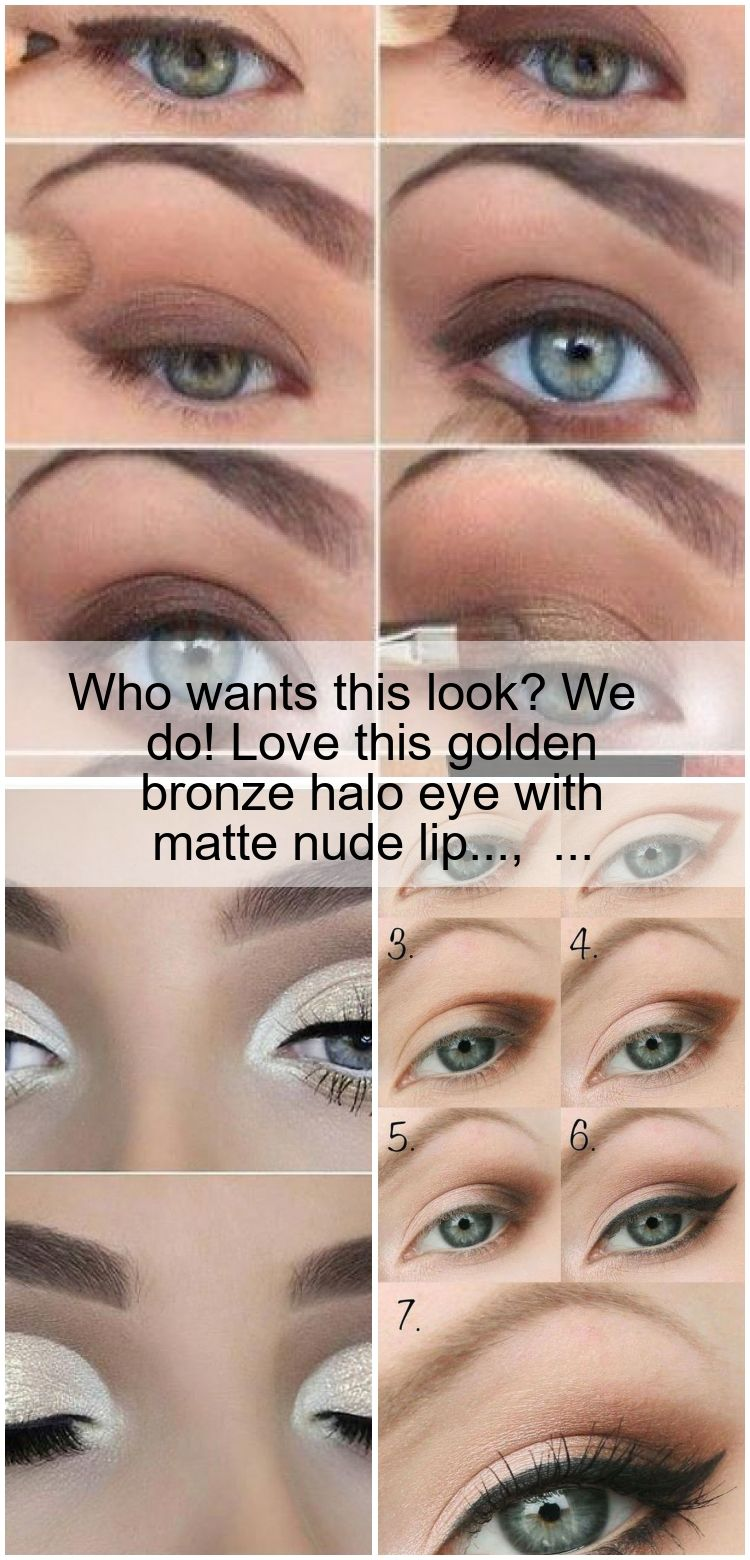 Photo of Who wants this look? We do! Love this golden bronze halo eye with matte nude lip…,  #Bronze…