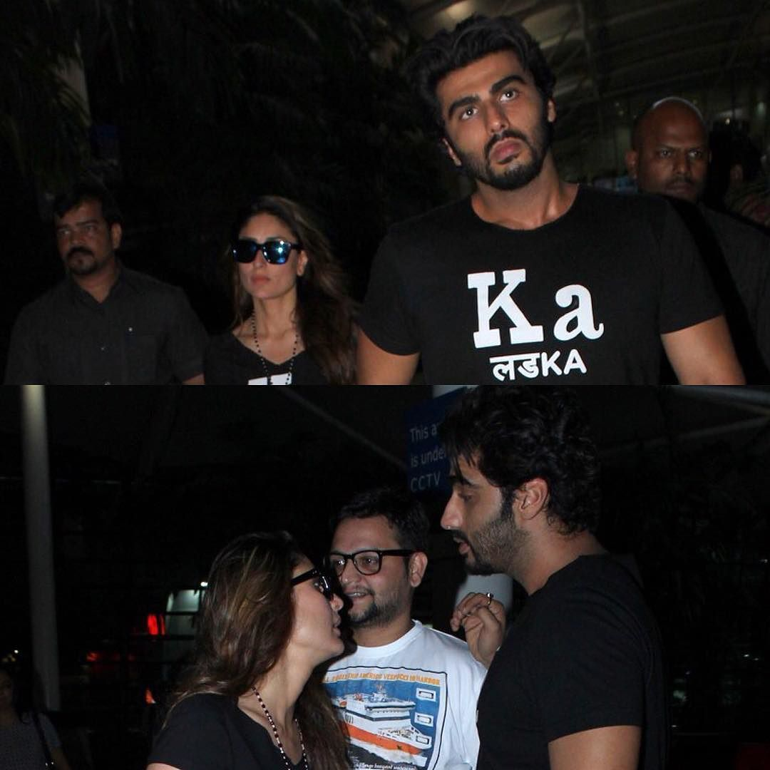 The arrival terminal in Mumbai was abuzz yesterday as our stars returned from their various work trips. Kareena Kapoor Khan and Arjun Kapoor seem to have gotten rather attached to their Ki and Ka tees. The duo was spotted wearing them yesterday too. While the two co-stars went their separate ways from the arrival lounge Kareena made sure to give Arjun a goodbye hug before she left. by #Filmfare. Shared by #BollywoodScope
