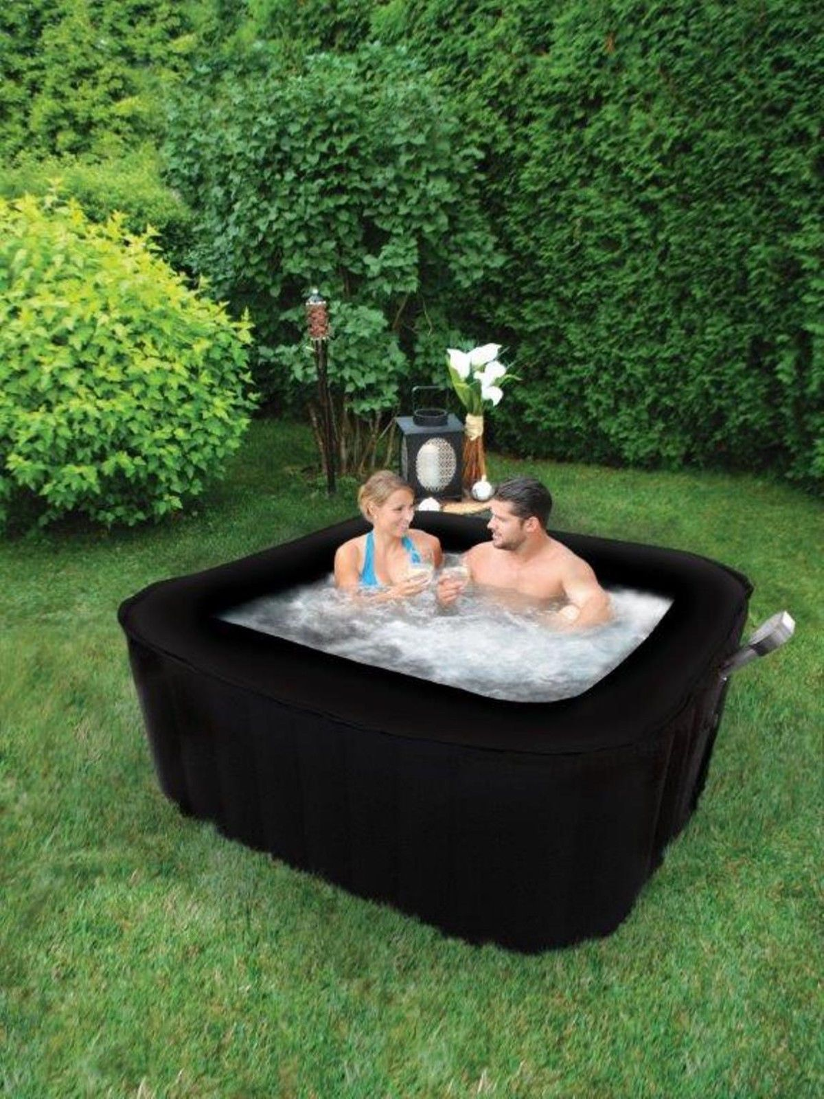 new 2 4 person square therapure portable inflatable hot. Black Bedroom Furniture Sets. Home Design Ideas