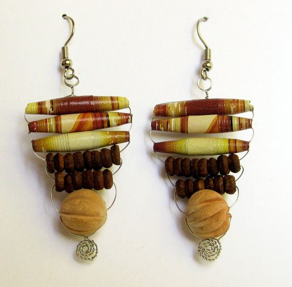 Tan and Orange Tribal Paper Bead Earrings by DeepBlueNotion