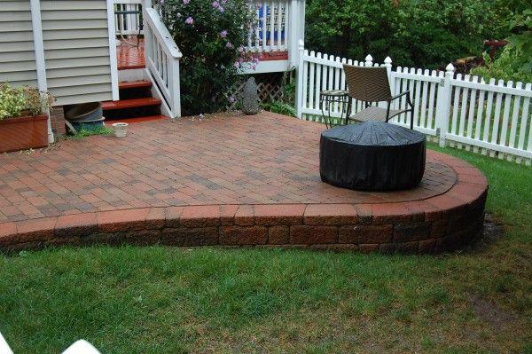 Patio With KneeSitting Wall Around Patio With Columns Patios - Raised brick patio