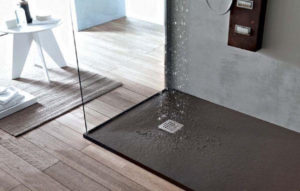 Piatto doccia in pietra SolidStone alto 2,8 cm - Grafite nero ...
