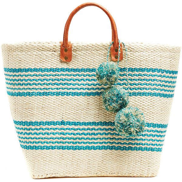 Caracas Sisal Basket Tote design by Mar Y Sol ($139) ❤ liked on Polyvore featuring bags, handbags, tote bags, white tote purse, striped tote, white tote bag, striped purse and woven tote bags