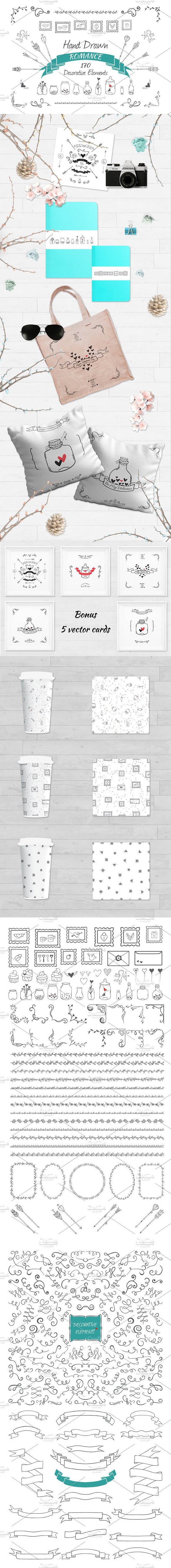 Hand drawn decorative elements set. Wedding Card Templates