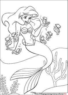 Dibujos de La Sirenita para Imprimir y Colorear | Coloring books