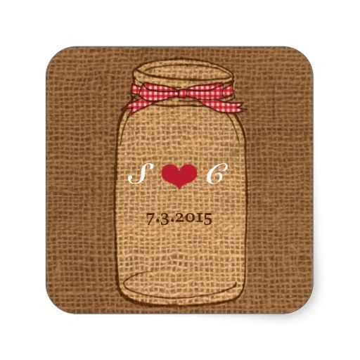 Red Gingham and Burlap Mason Jar Wedding Square Stickers