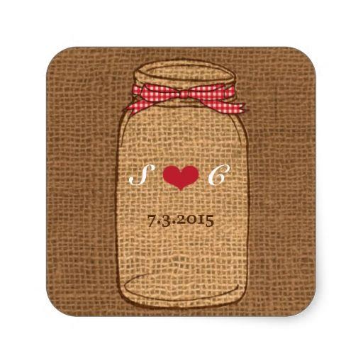 Red Gingham and Burlap Mason Jar Wedding Square Stickers
