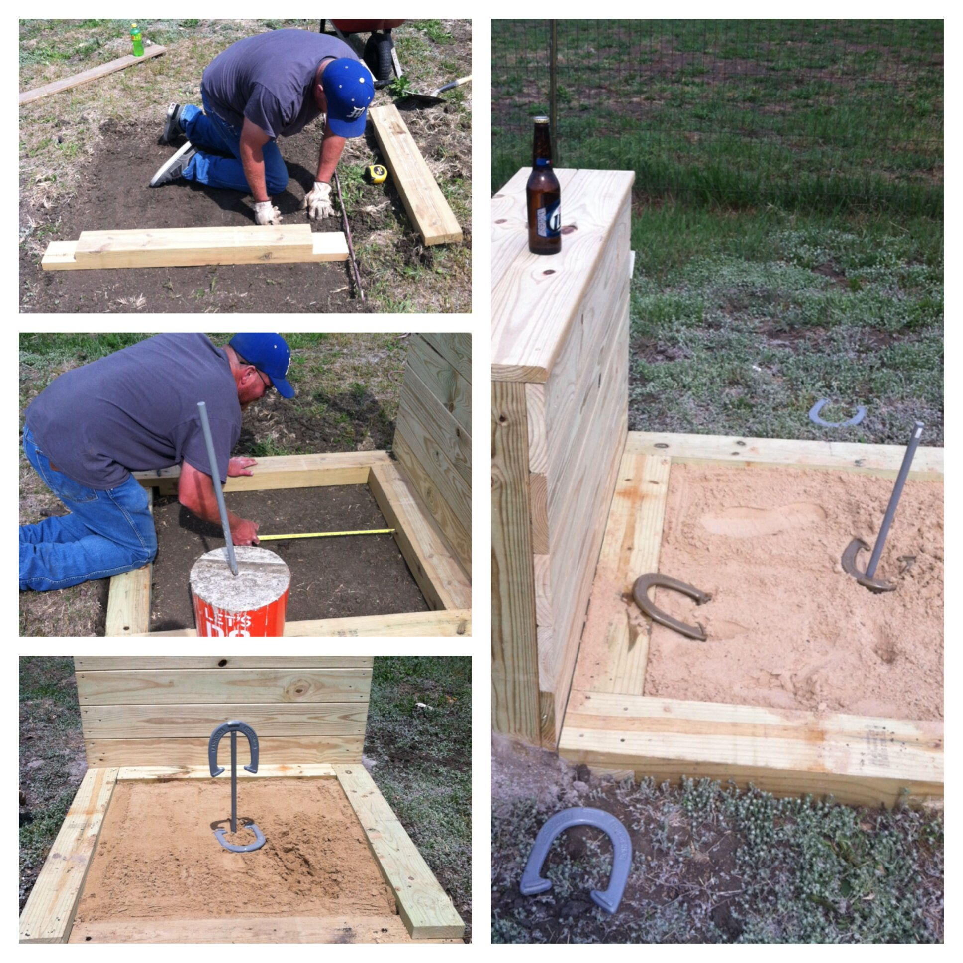 Horseshoe Pits With A Backstop Bar Top Horseshoe Pit Backyard
