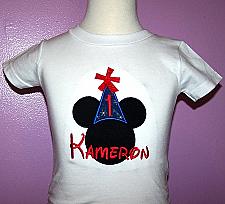 1st BIRTHDAY Mickey Hat Boy Shirt Disney Font Applique Personalized