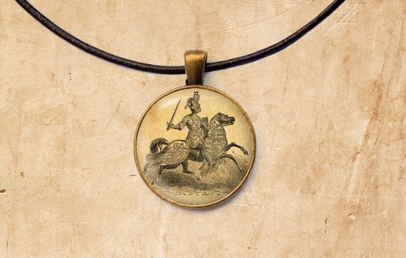 Medieval pendant Vintage jewelry Knight by SleepyCatPendants