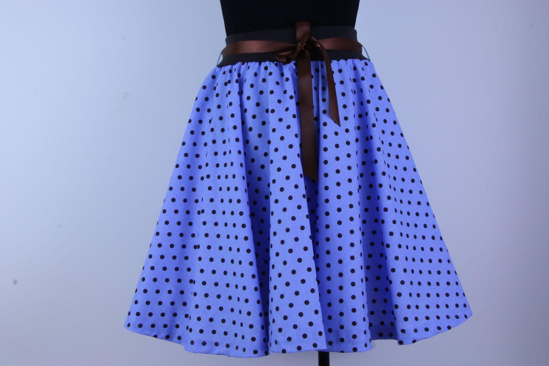 Blue polka dot skirt, circle skirt, women skirt, 1950s skirt, swing skirt, summer skirt, skater skirt, knee length skirt, women clothing by ElzahDesign on Etsy