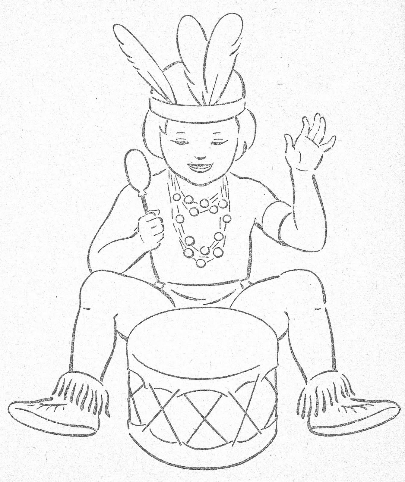Little Indians To Color | Thema Indianen kleuters / Native American ...