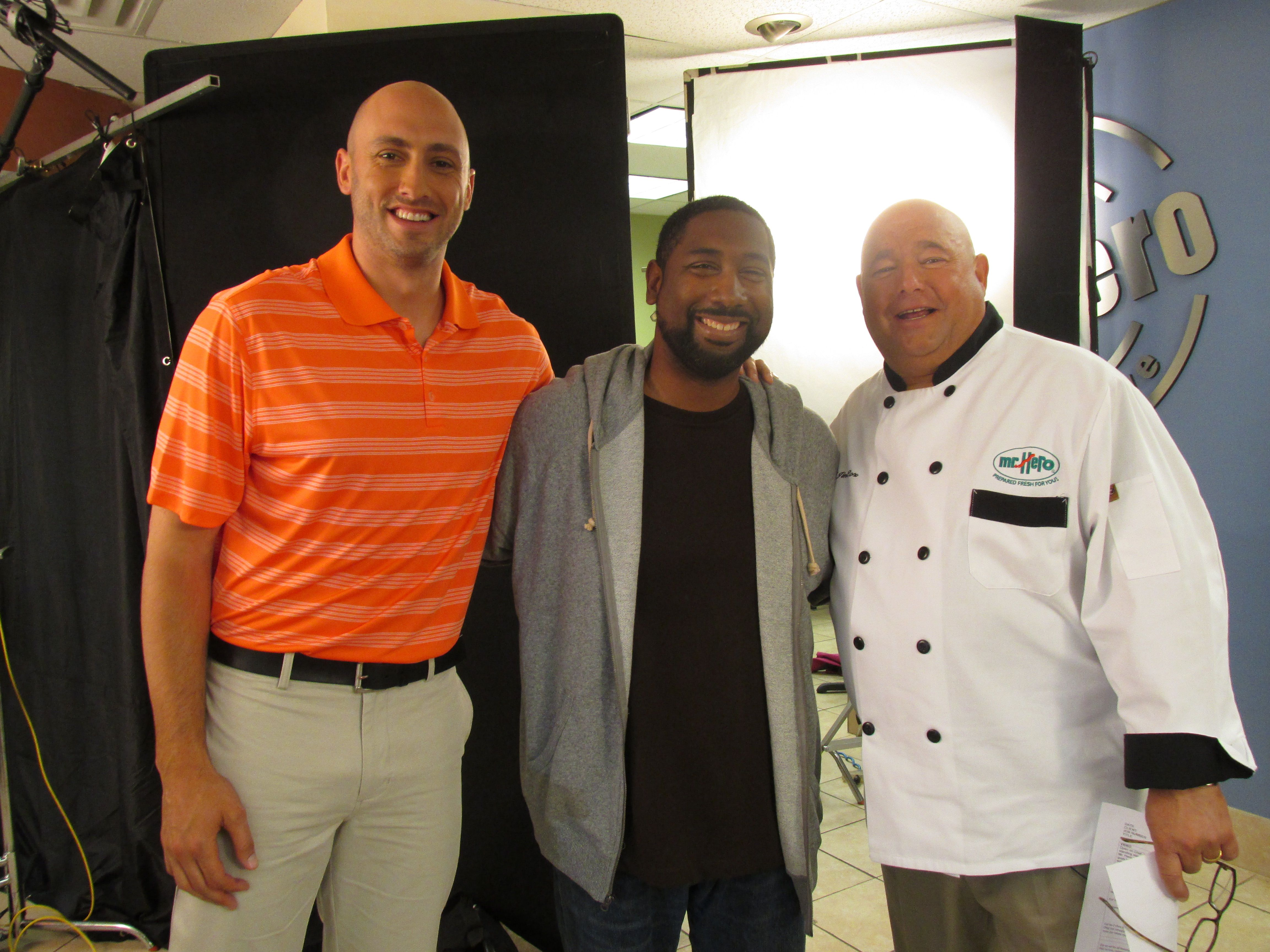 Chef Jim On The Tv Commercial Set With Brian Hoyer And One Of Our Actors Tv Commercials Tv Actors