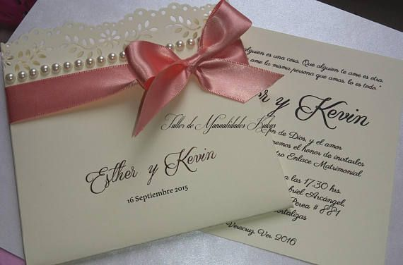 bb637c90c Lindas invitaciones hechas a mano para bodas, 15 años, o bautizos son  personalizadas al