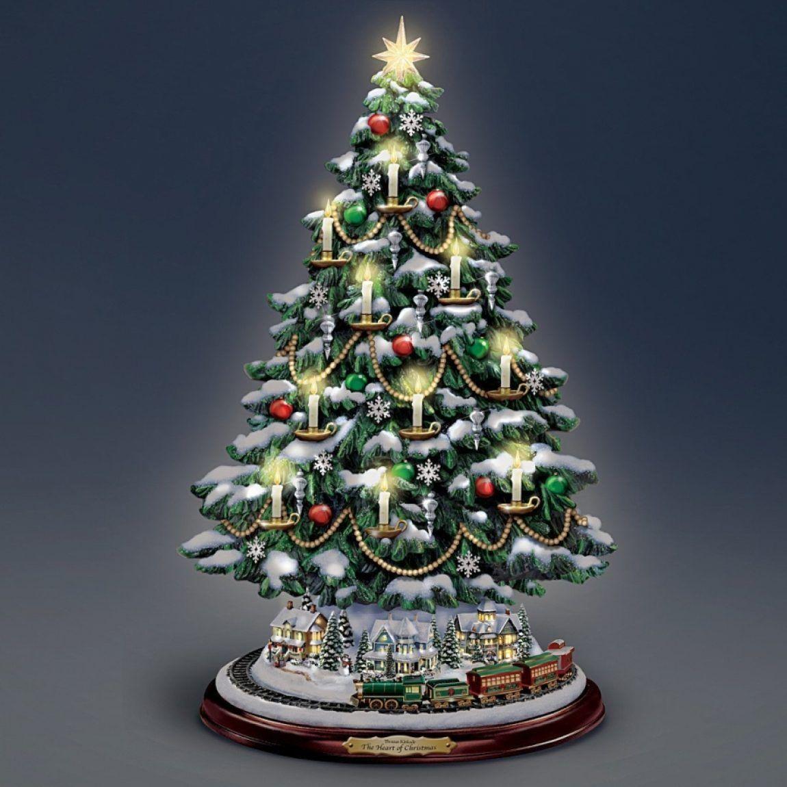 Thomas Kinkade Candlelit Tabletop Tree With Lights Thomas Kinkade Christmas Christmas Tree Lighting Tabletop Christmas Tree