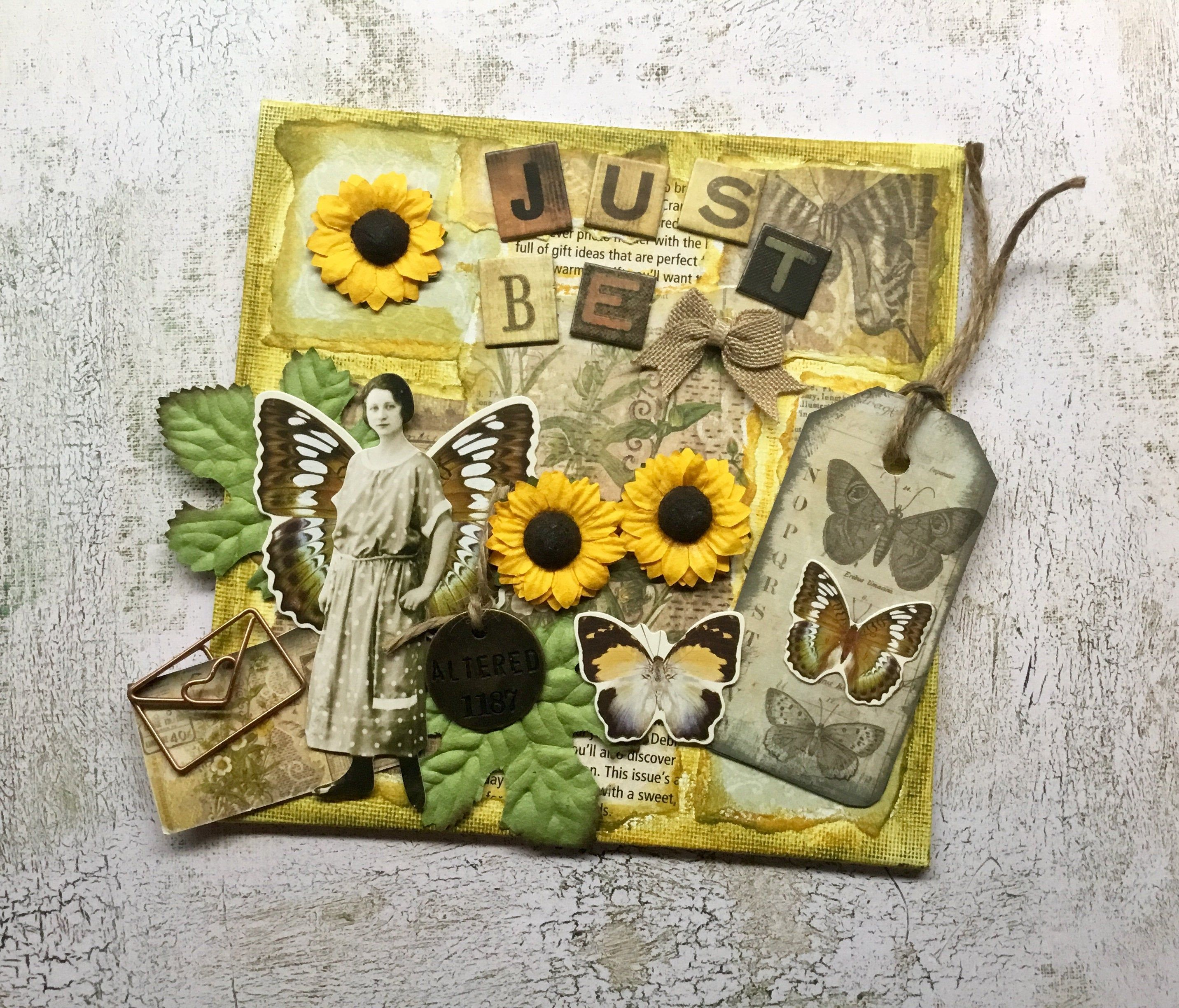 Just Be Mixed Media Art Sunflower Art Altered Canvas