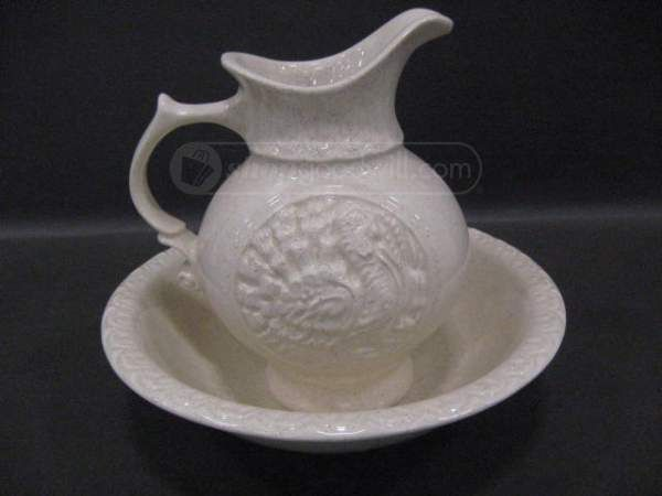 Ceramic Wash Bowl and Pitcher Cream Colored