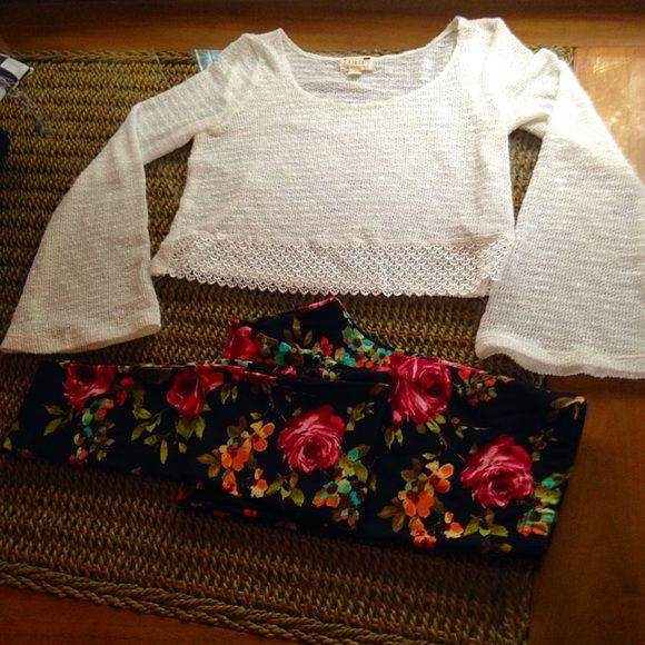 pacsun White crotchet long bell sleeve top This piece is part of my 'Happy Hippie' collection, check out my page for more! this particular piece is unbranded. - perfect condition, size small/medium- LA Hearts Sweaters Crew & Scoop Necks