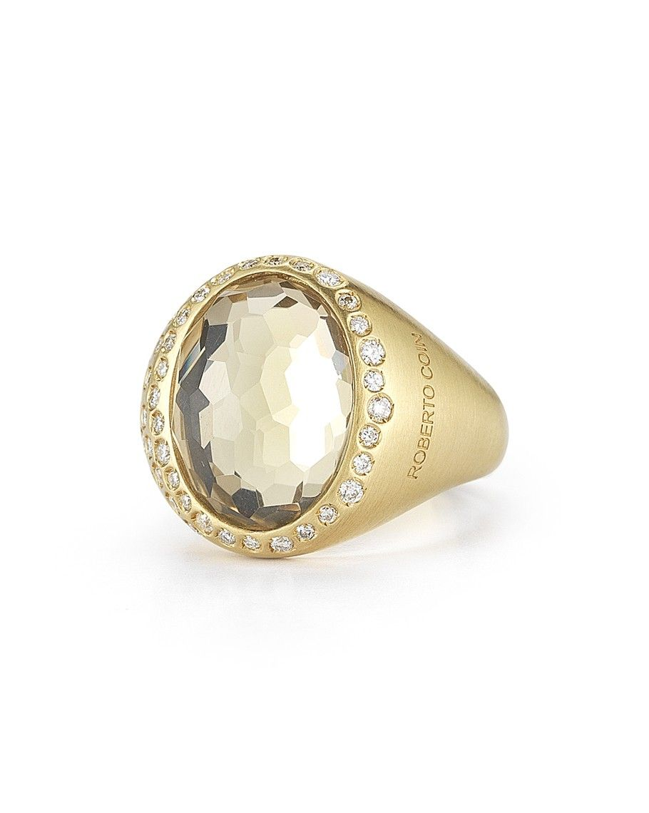 Roberto Coin 18K Yellow Gold Cocktail Ring with Diamonds and Crystal Doublet