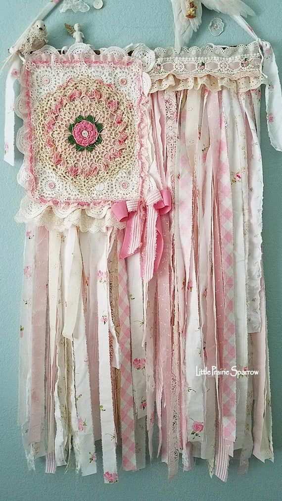Pink Rag Fabric Flag, Shabby Chic Tapestry, Patriotic Farmhouse, Wedding Prop, Nursery Hanging, Girl Baby Shower Theme, Party Photo Backdrop