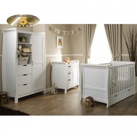 Obaby Lincoln Sleigh Nursery Room Set White Buy At Online4baby Baby Furniture Sets Nursery Furniture Sets Nursery Furniture Sets White