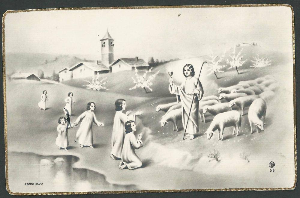 Postal antigua del buen pastor andachtsbild santino holy card santini