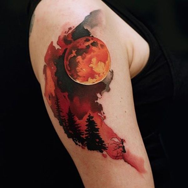 8d84ce0afc700 Deadly beautiful blood moon sleeve tattoo. The half ink design of the tattoo  gives us a small glimpse of the blood moon and the terrifying night which  is to ...