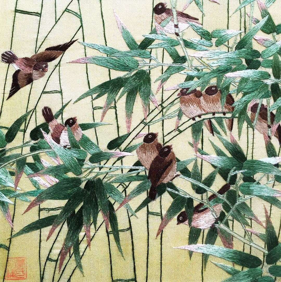100 handmade embroidery feng shui framed wildlife bird ten 100 handmade embroidery feng shui framed wildlife bird ten sparrows in bamboo 31086