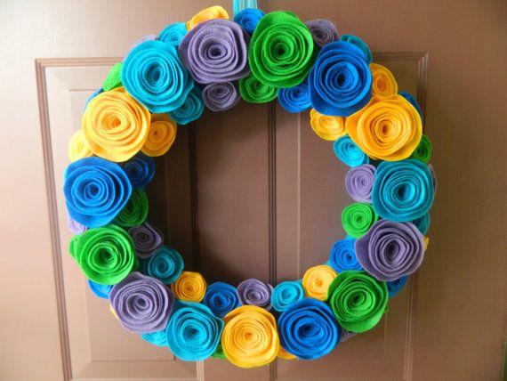 Bright Summer Wreath  Mardi Gras Felt Flower by WreathinkGifting, $60.00