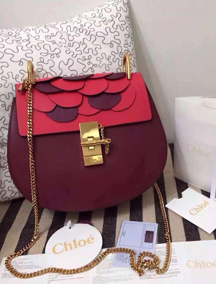 Floral Wine Red Chloe Small Drew Bicolor Shoulder Bag sale at USD 342.  Free Global Shipping. View more http://www.luxtime.su/chloe-bags
