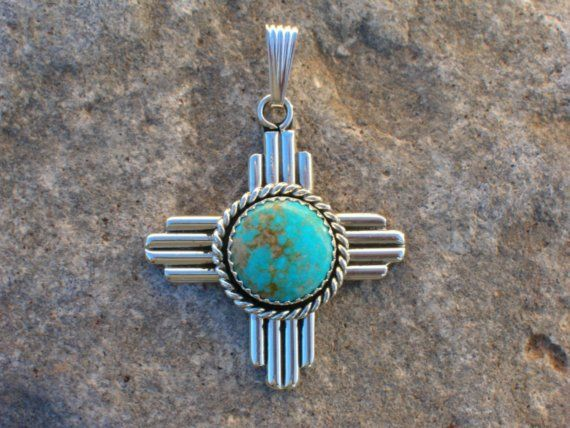 New Mexico Zia Symbol Turquoise and Silver Southwestern Style