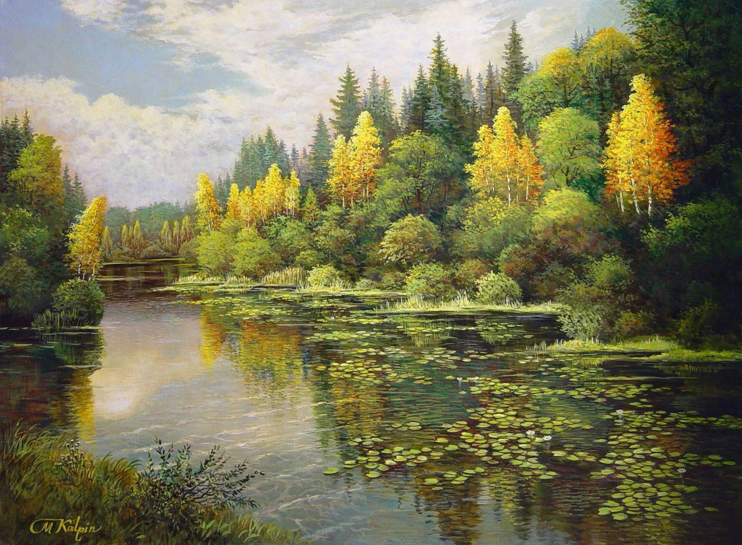 Mark Kalpin Paysage Peinture Debut D Automne Foret Mixte Le Bouleau Jaune Lac Lotus Beautiful Landscape Paintings Landscape Paintings Autumn Landscape