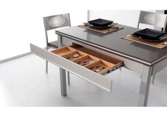 Mesa cocina extensible moderna Maggie cajon y dekton | banco y arcon ...