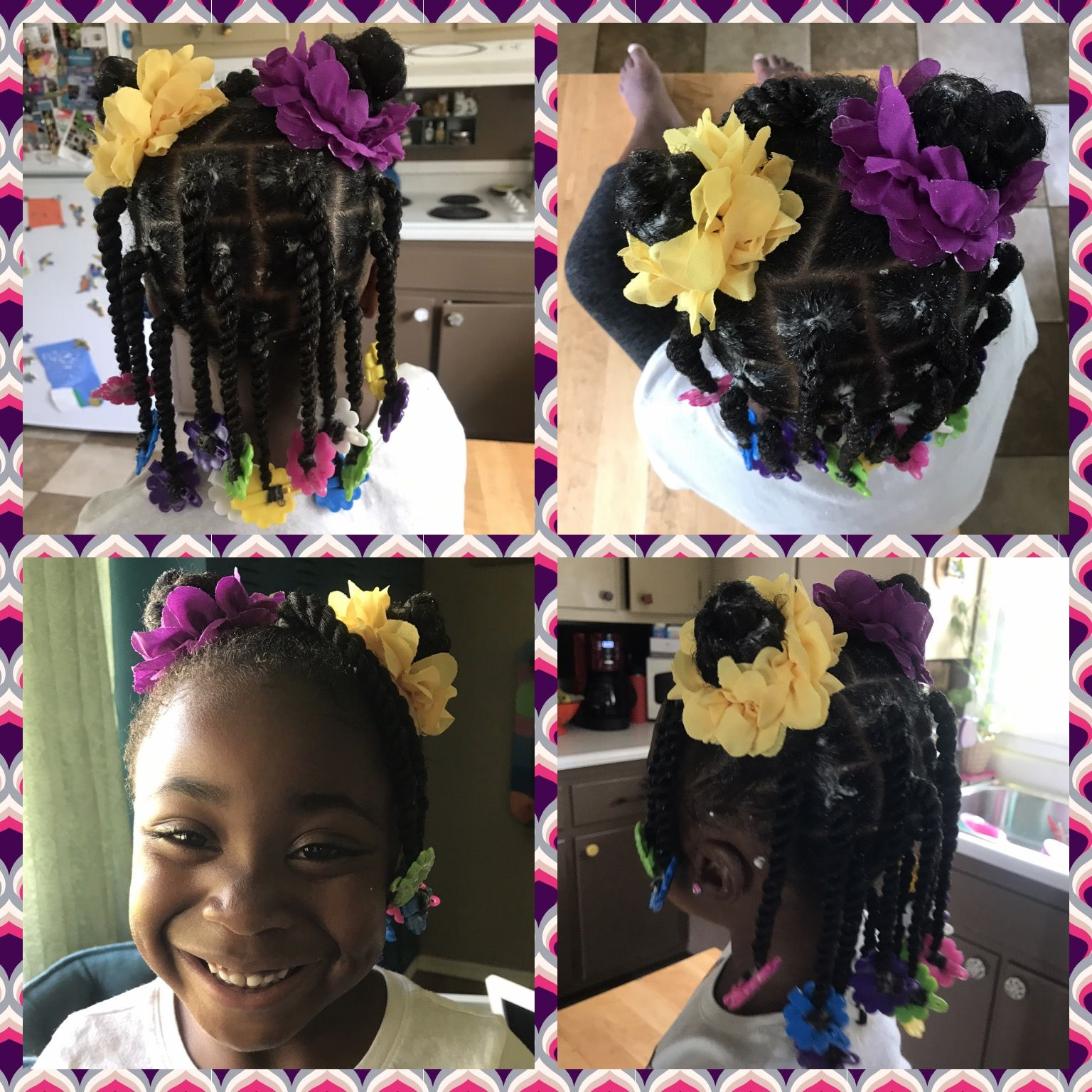 Little Girl Natural Hair Twists And Barrettes Protective Style