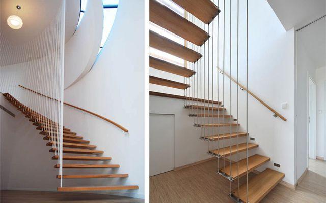 Decoraci n de escaleras voladas baranda vertical - Barandillas para escaleras interiores modernas ...