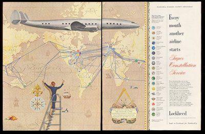 1955 Cubana KLM TWA NWA Air France etc route map Lockheed ...
