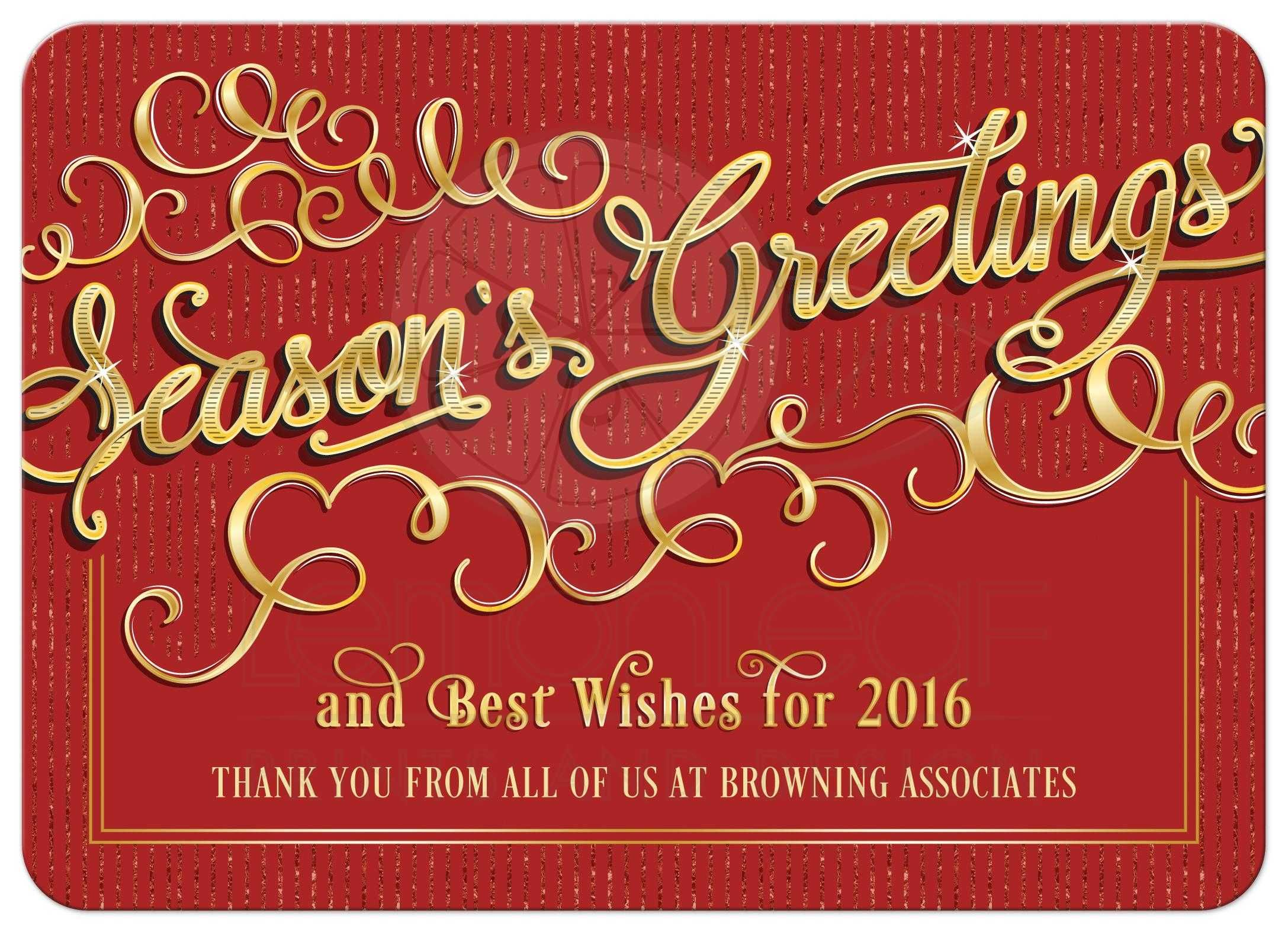 Business Holiday Card | Elegant Season\'s Greetings Red Gold ...