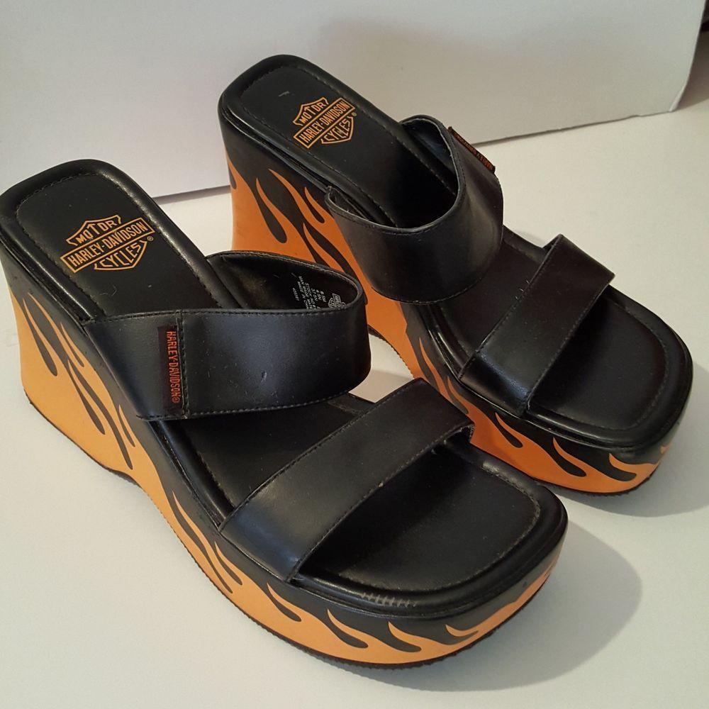 Harley Davidson Black Slides Sandals Sz 6.5 Women Style