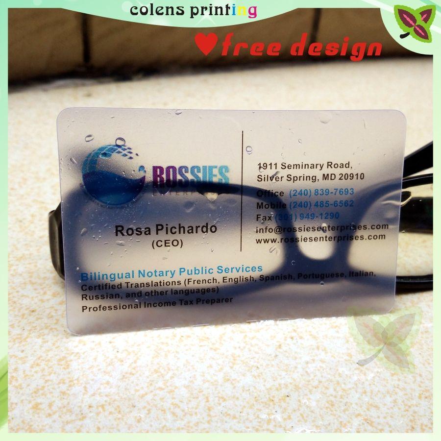 Impression De Cartes Visite Personnalises Plastique Transparent Pvc Carte Tanche