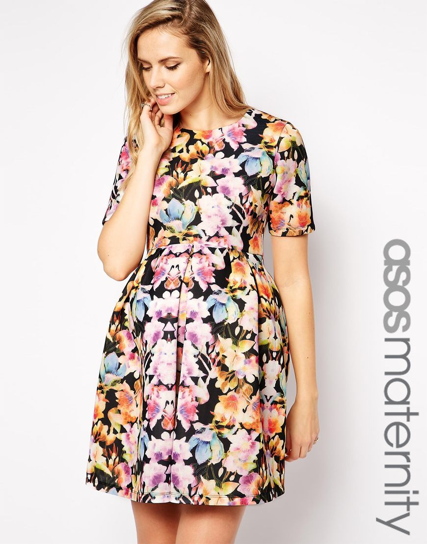 Asos maternity scuba skater dress in digital floral print ropa maternity dress by asos maternity smooth scuba round neckline fitted empire seam pleated skirt regular fit true to size designed to fit through all stages ombrellifo Gallery