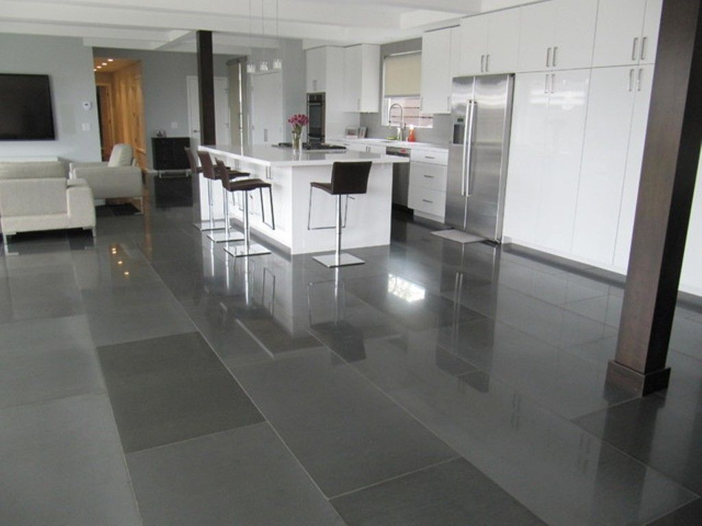 Grey Porcelain Floor Tiles For Modern Kitchen Decor With Black Stools And White Island Tile Floor Flooring Grey Kitchen Floor