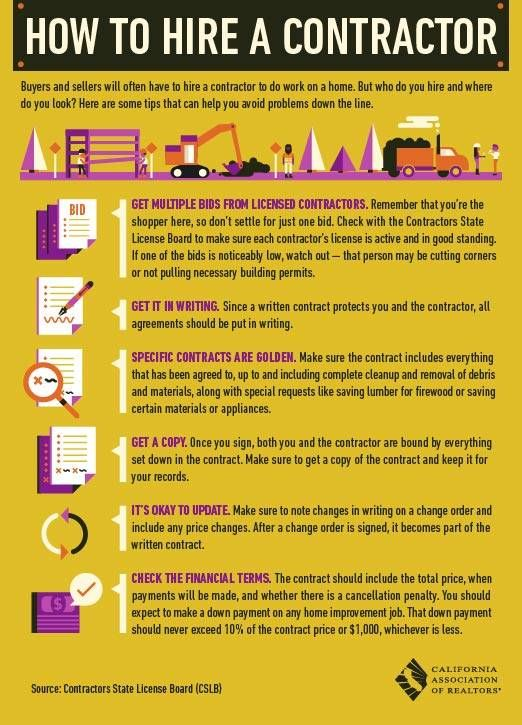 How To Hire A Contractor Home Improvement Contractors Real Estate Infographic Contractors