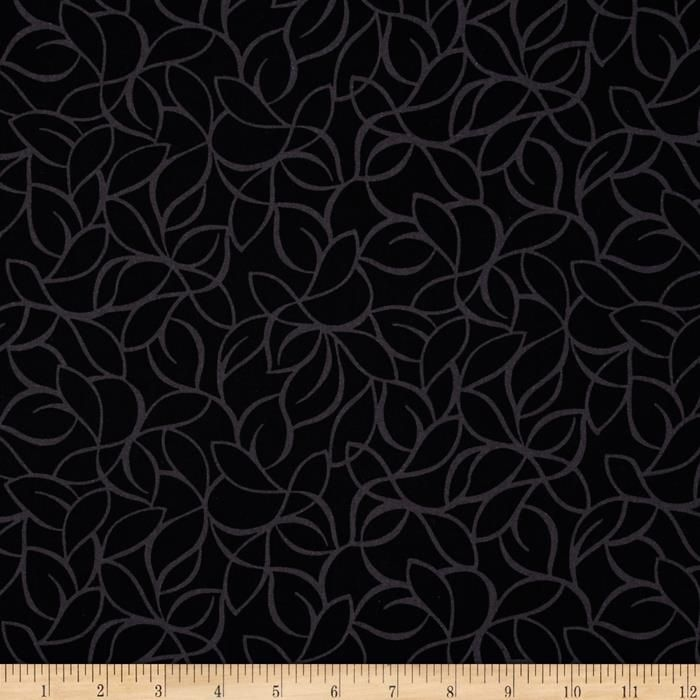 """108"""" Wide Quilt Back Windsor Leaves Black from @fabricdotcom  Designed for Blank Quilting, this 108'' wide quilt backing features a black and grey palette. Fabric is perfect for quilt backing, duvets, light curtains and more."""