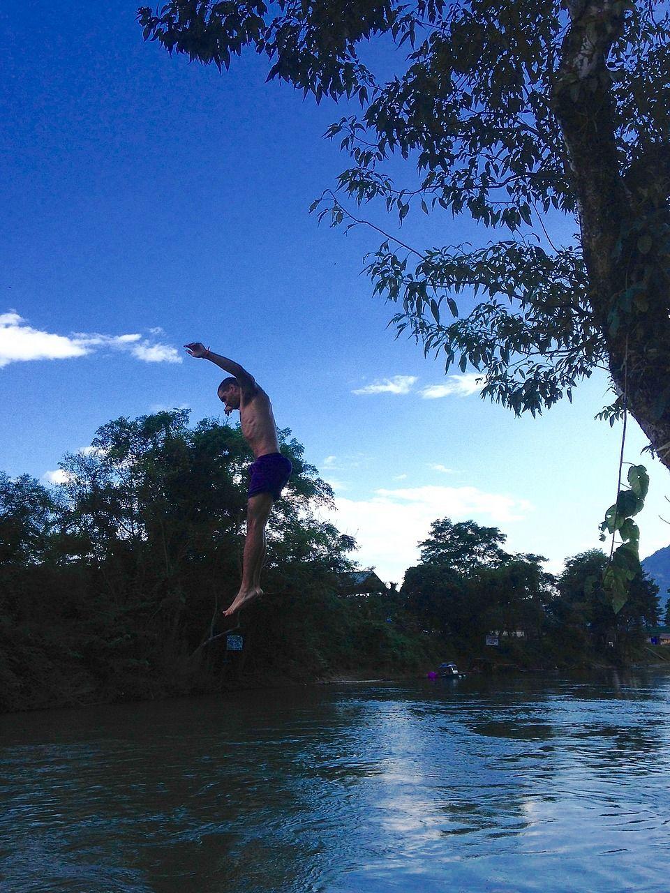 Tree jumping tubing Laos