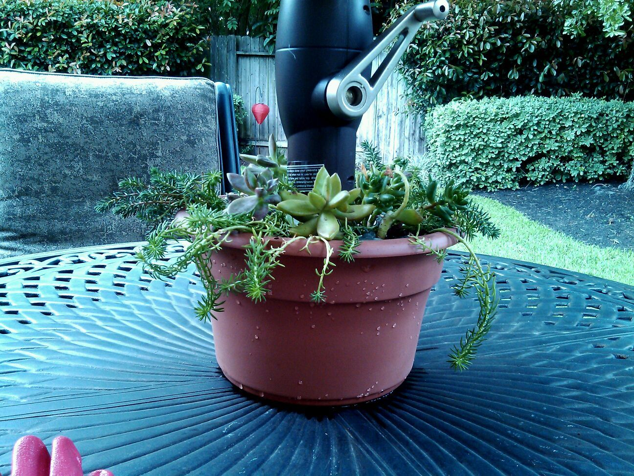 Easy Planter For A Patio Table With An Umbrella Use A Plastic Terra