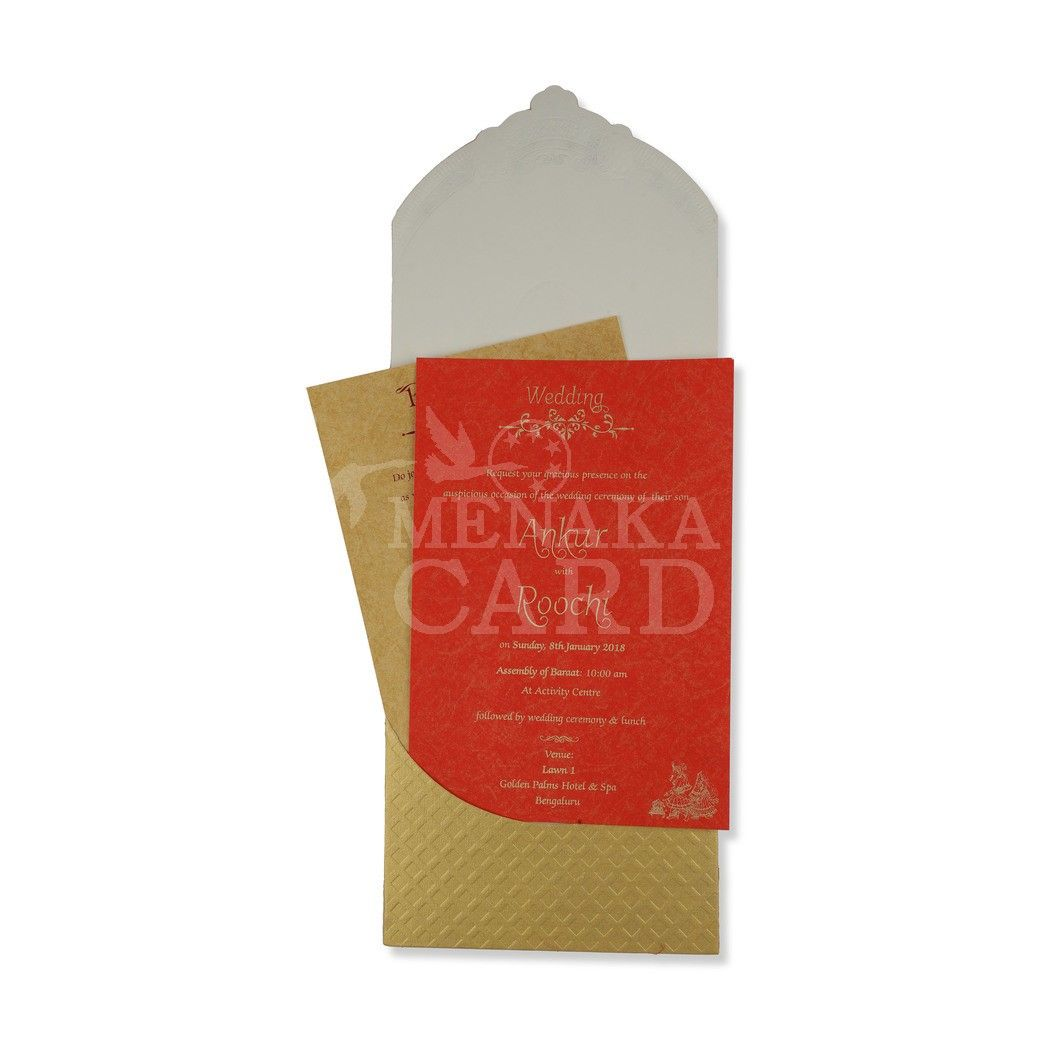 Red Card with design in Gold foil and Vinayagar sticker pasting with ...